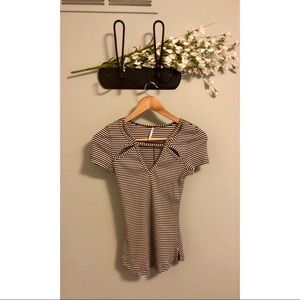 🎀 Free People • Ribbed Striped Tee